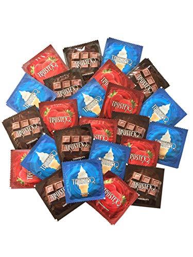 Trustex Neapolitan Flavors with Silver Lunamax Pocket Case, Chocolate, Strawberry, and Vanilla Flavored Latex Condoms-24 Count