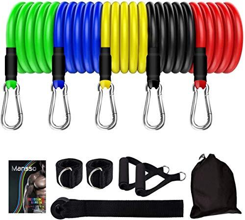 Clonic Resistance Bands Fitnessbänder Set 12 Pack, Gymnastikband Fitnessband Widerstandsband Set mit Expander, Griffe, Türanker, Fußschlaufen, Tragetasche (Resistance Bands)