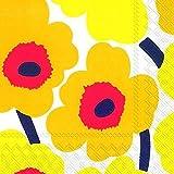 Marimekko UNIKKO - Tovaglioli da tavola in carta, 50,8 cm, quadrati da 33 cm, colore: giallo scuro