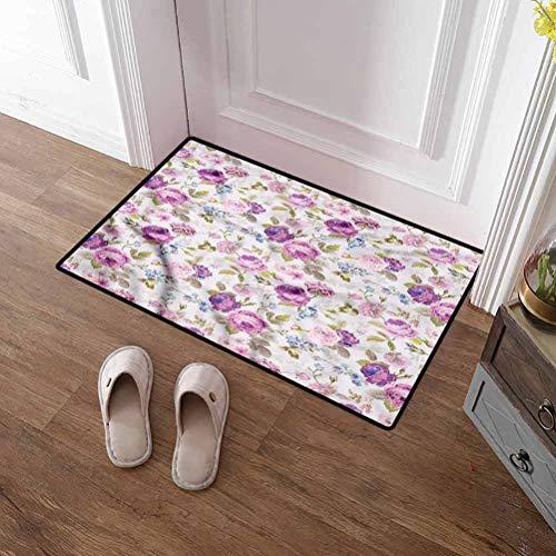 Custom&blanket Large Door Mat Shabby Chic Under Door Entryway Floor Carpet Springtime Arrangement for Home/Office/Bedroom 40x63 inches