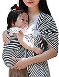 Vlokup Baby Sling Ring Sling Carrier Wrap - Extra Soft Lightweight Cotton Baby Slings for Infant, Toddler, Newborn and Kids - Great Shower Gift, Lightly Padded, Adjustable - Nursing Cover Black Stripe