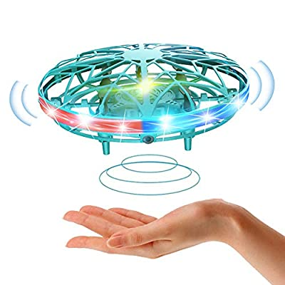 UFO Mini Drone for Kids Flying Saucer Toys Hand Control Helicopter, Induction Levitation Rechargeable UFO Toys with LED Lights Indoor Outdoor Games Toy Gifts for Children Boys Girls (Green)