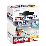 tesa extra Power Perfect Gewebeband - Gewebeverstärktes Gafferband zum Basteln, Reparieren, Befestigen, Verstärken und Beschriften - Weiß - 2,75 m x 38 mm