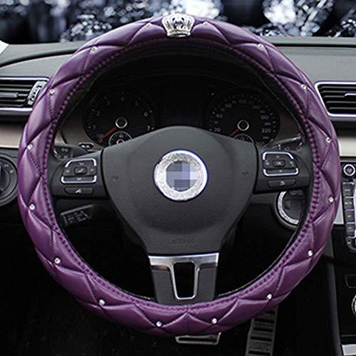 Cubierta de volante VIWIV Tapa de la rueda del volante Nueva corona decorativa del coche del volante enmascarado con enmascaramiento de los hombres conjuntos de moda de los hombres con el carro púrpur
