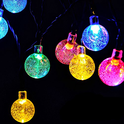 Globe Battery Operated String Lights with Timer - RECESKY 60 LED 29ft Fairy Crystal Ball Decor Lighting for Outdoor Indoor Garden Patio Home Xmas Wreath Christmas Tree Decorations - Multi Color