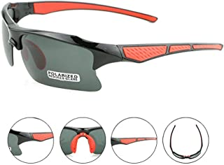 Iddefee Riding Glasses Men and Women Sunglasses Cycling Sports Flat Glasses Protective Glasses Polarized Glasses Riding Mirror Racing Goggles (Color : Black red)