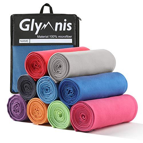 Glymnis Mikrofaser Handtücher schnelltrocknend Sporthandtuch Strandhandtuch Viele Größen und Farben saugfähig weich für Sport Yoga Sauna Fitness und Strand (Blau, 120x60cm)