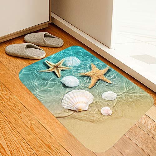 Beach Starfish Scallop Print Memory Foam Bath Rugs and doormats Non Slip Absorbent Super Cozy Flannel Bathroom Rug Carpet