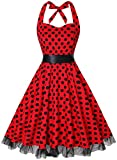 Summer Dresses, OTEN Women Vintage 1950's Floral Halter Neck Rockabilly Swing Dress Red Dots , XX-Large