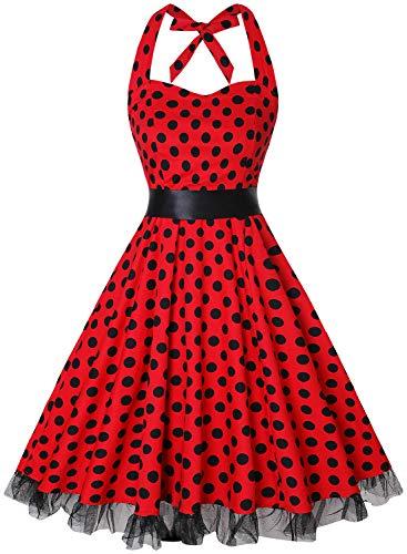 oten Damen 1950er Vintage Kleider Schulterfrei Blumen Country Rockabilly Neckholder Cocktail Swing Tee Kleid, Roter Tupfen, XXL