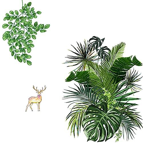 Yolistar Adesivi Murali Pianta Tropicali 60 X 90 cm, Adesivi da Parete Foglie Verdi, Impermeabili per Decorazione Interni Sticker Adatto per Camera Da Letto, Soggiorno, Parete di Fondo Tv (4 Pezzi)