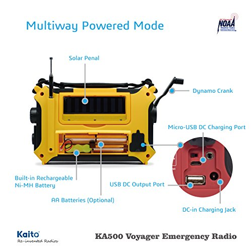 Product Image 9: Kaito KA500 5-way Powered Solar Power,Dynamo Crank, Wind Up Emergency AM/FM/SW/NOAA Weather Alert Radio with Flashlight,Reading Lamp and Cellphone Charger, Yellow