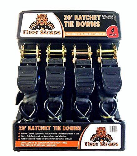 Tiger Tie Down Straps-4PK-Extra Long 20ft -500lb Load Cap