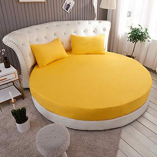 HPPSLT Protector de colchón, con Aloe Vera, (Todas Las Medidas) Hotel Cama Redonda de algodón-Ganso Amarillo_2,1m