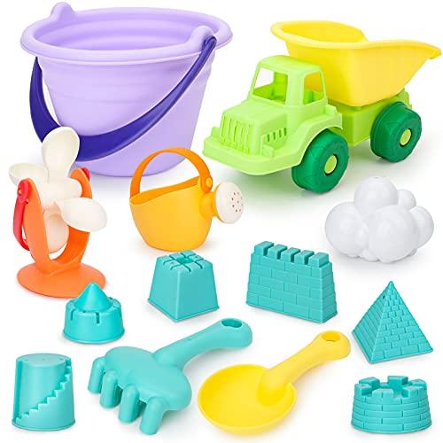 Dreamon Strand Sandspielzeug mit Netzbeutel Burgenförmchen Gießkanne Spaten 13tlg Sandkasten Spielzeug Set für Junge Mädchen Kinder