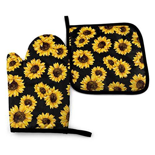 Eybfrre - Juego de guantes de horno con diseño de girasoles negros y amarillos, resistentes al calor, con superficie antideslizante para barbacoa, cocinar y hornear