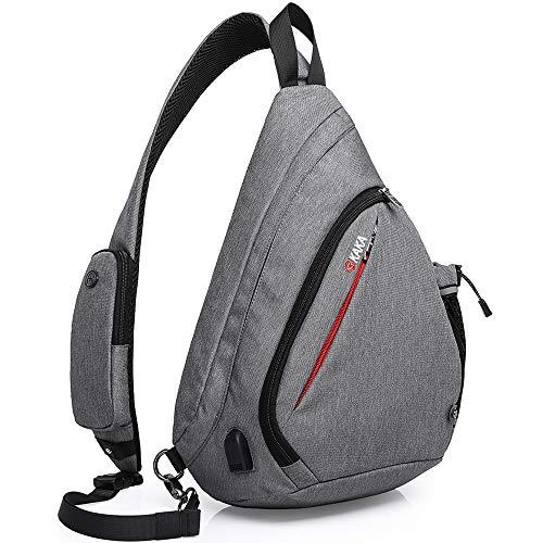 KAKA Sling Bag, Crossbody Backpack Canvas Waterproof Daypack Casual Shoulder Bag Traveling Hiking Camping for Men and Women (LARGER GRAY)…