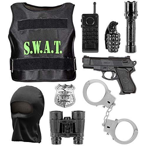 Widmann 00323 - Kostümset S.W.A.T. für Kinder, kugelsichere Weste, Maske, Abzeichen, Pistole, Handschellen, Funkgerät, Taschenlampe, Handgranate, Fernglas
