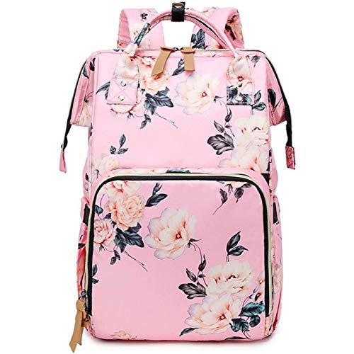SONG Bolsa de Mamá Impresa Bolsa de Bebé Recargable por USB Bolsa Lista para Pañales,Pink