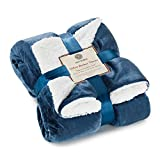Genteele Sherpa Throw Blanket Super Soft Reversible Ultra Luxurious Plush Blanket (60 inches x 70 inches, Navy/White)