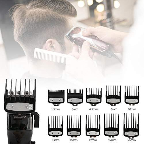 Ensemble de guide de peignes de limite de tondeuse à cheveux, ensemble de garde de tondeuse à cheveux 10 pièces, peignes de guide de tondeuse à attachement professionnel pour remplacement de coupe de
