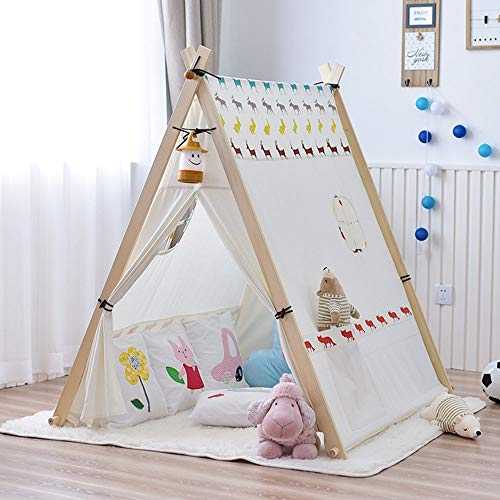 DEPRQ Children's Tent Kids Teepee Tent Foldable Children Play Tents Suitable for Indoor and Outdoor The Best Gift Play Tent for Boy Girl (Color : White, Size : 130x110x130cm)