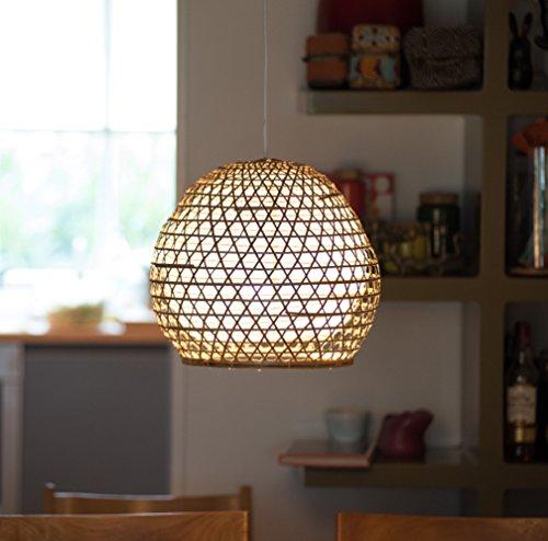 Lampenschirm Roundy Bambus S, 35x35cm - natur, Bambuslampen aus Bali, handgemachte Lampenschirme aus Bambus, als Hängelampe, Pendelleuchte über Esstisch, im Kinderzimmer oder als Wohnzimmerlampe.