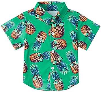 RAISEVERN Big Boy s Dress Shirt Tropical Cute Button Down Short Sleeve Cartoon Pineapple Top Kids Cool Hawaiian T-Shirt 7-8T
