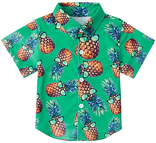 RAISEVERN Boys Pineapple Dress Shirt Short Sleeve Cartoon Cute Tropical Hawaiian Button-Down Shirts(3-4T)