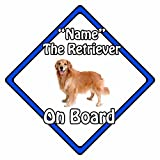 Señal de seguridad para coche personalizable, diseño de perro a bordo, color azul