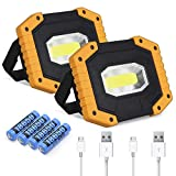 Rechargeable LED Work Light 2 Pack, COB 30W 2000LM Portable LED Work Light Battery Work Light Cordless Waterproof Work Light for Outdoor Camping Hiking Emergency Car Repairing and Job Site Lighting