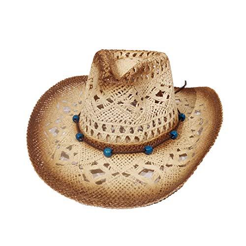 Carnavalife, Sombrero de Papel Natural de Cowboy Vaquero, con Banda de Tela, Unisex Talla Única Hombre Mujer para Verano