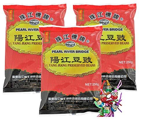 yoaxia ® - 3er Pack - [ 3x 250g ] PEARL RIVER BRIDGE Fermentierte Schwarze Bohnen / Fermented Black Beans 豆豉 + ein kleines Glückspüppchen - Holzpüppchen