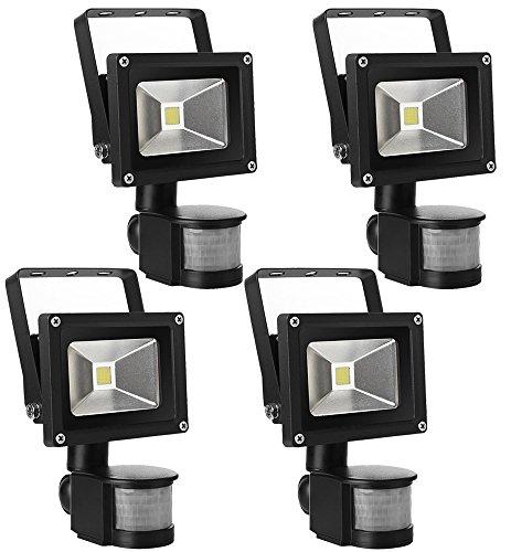 Leetop 4X Projecteur LED lampe de 10W à Détecteur de Movement,IP65 PIR Extérieur Lampe de Capteur Infrarouge Humain,AC85V-265V,120 Degrés Angle de Faisceau,Blanc Chaud