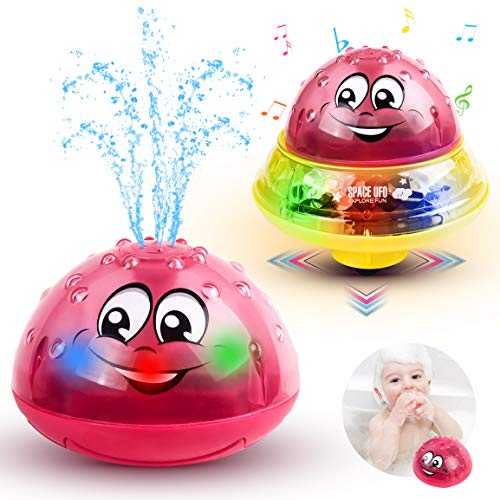 Refasy Bathtub Toys for Baby Age 12-18 Month,Electric Induction Sprinkler Bath Toy Water Spray Bath Toys for Toddlers Fountain Bath Toy for Baby Age 1-2 Space UFO Cars Best Birthday Gifts for Kids