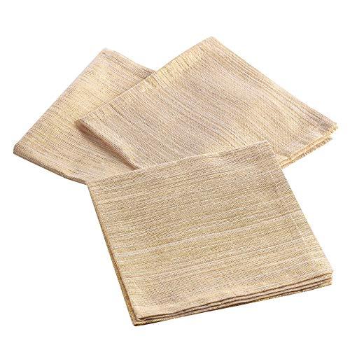 3 serviettes de table 40 x 40 cm coton uni+lurex elegancia or