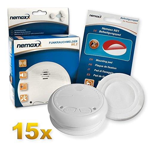 15x Nemaxx WL2 Funkrauchmelder Rauchmelder Brandmelder Set Funk koppelbar vernetzt - nach EN 14604 + 15x Nemaxx NX1 Quickfix Befestigungspad