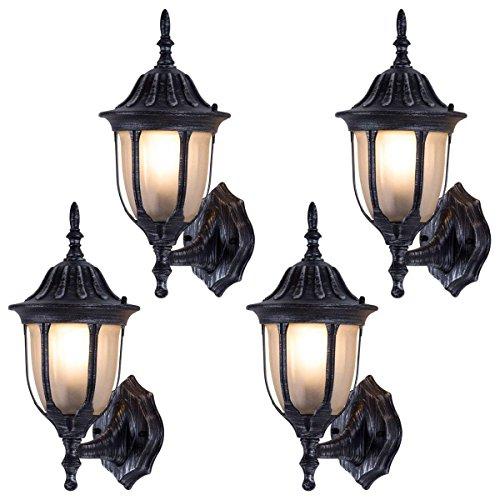 Preisvergleich Produktbild XHJJDJ In Home 1-Licht-Outdoor-Wandhalterung Laterne Downward Fixture Serie Traditional Desigh Bronze Finish,  Klarglas Shade (4 Pack) (Farbe : Black)