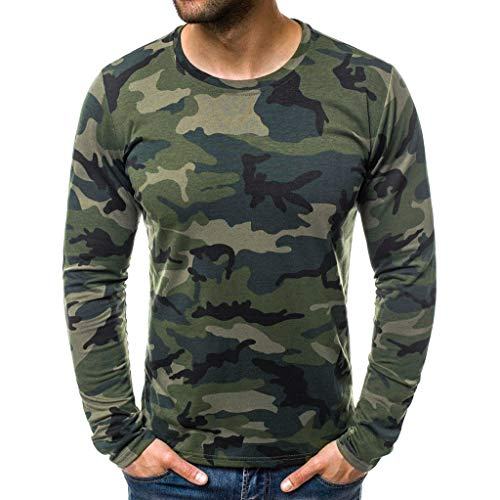 Hombres Camisetas Deportivo Camiseta Manga Larga Camuflaje Pullover Running Gym Entrenamiento Sweatshirt Impresión Tops Cómodo Básica Casual Otoño Invierno(Ejercito Verde,L)