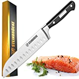 STEINBRÜCKE Santoku Knife - 7 inch Kitchen Knife Forged from German Stainless Steel 5Cr15Mov(HRC58), Full Tang, Razor Sharp Blade with Hollow Edge for Slicing, Dicing&Chopping