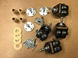 Upright Piano Double/Dual Wheel Caster Set of 4 w/Hardware