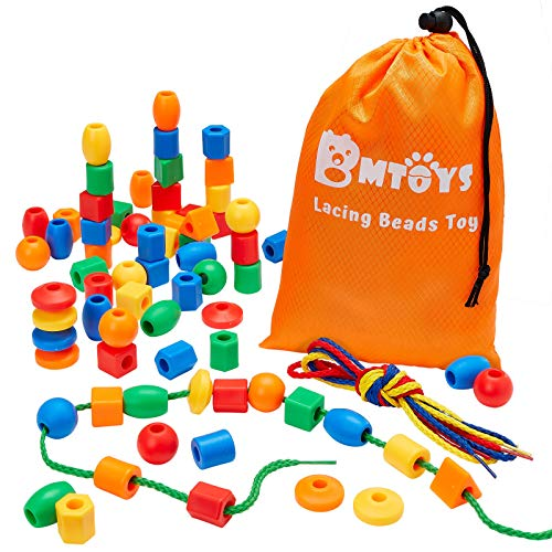 BMTOYS Lacing Beads for Preschool Kids - 70 Stringing Threading Beads Occupational Therapy Toys for Kids 3 4 5 6 7 8 Year Old Fine Motor Skills Developmental Activities