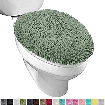 Gorilla Grip Original Shag Chenille Bathroom Toilet Lid Cover, 19.5 x 18.5 Inches, Large Size, Machine Washable, Ultra Soft Plush Fabric Covers, Fits Most Size Toilet Lids for Bathroom, Sage Green