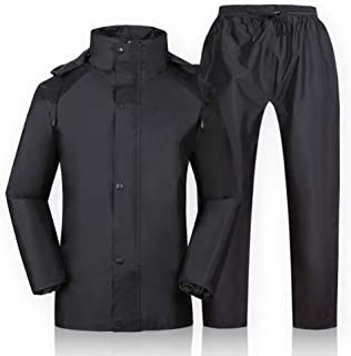 I will take action now Raincoat Adult Waterproof Jacket Set Powerful Waterproof Skin-Friendly Breathable Pvc Waterproof Coating Widely Application Reflective Strip Black Fishing Leisure I will take ac