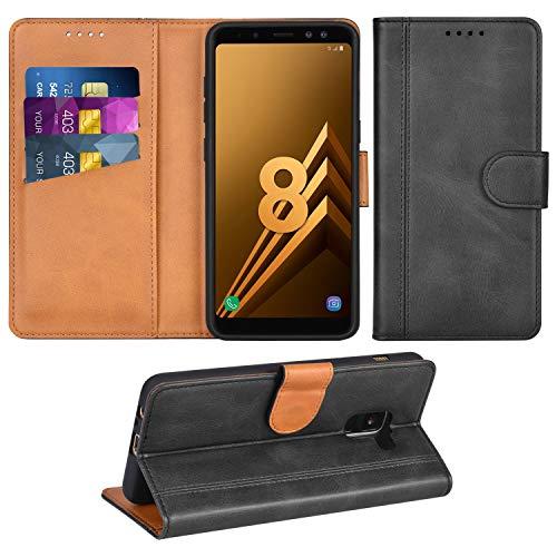 Adicase Galaxy A8 2018 Hülle Leder Wallet Tasche Flip Hülle Handyhülle Schutzhülle für Samsung Galaxy A8 2018 (Dunkelgrau)