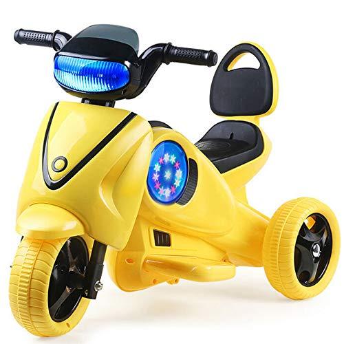 Moto Elétrico para Crianças, Carro Triciclo Criança Com Luzes E Música Recarregável 2 Anos Brinquedos Infantis Infantil Carros De Bateria,Amarillo