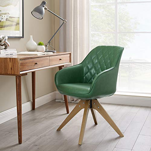 Art Leon Mid-Century Modern Faux Leather Upholstered Swivel Accent Chair Olive Green with Wood Legs Armchair for Home Office Study Living Room Vanity Bedroom