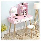 WWWFZS Juego de mesa de tocador de tocador, mesa de maquillaje, juego de tocador de dormitorio con taburete (color rosa 1+silla)