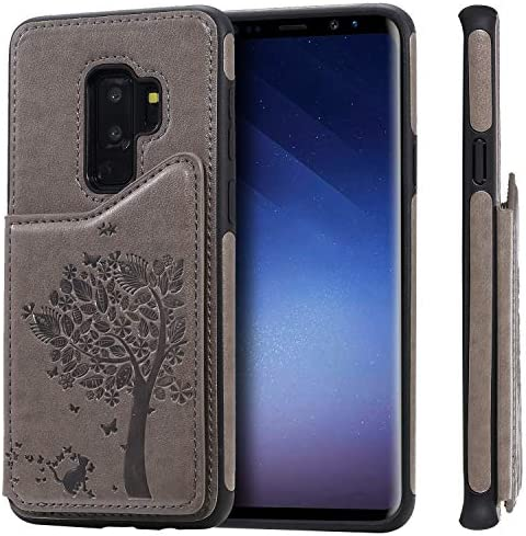 Samsung Galaxy S9P S9 Case Cover TACOO Leather Card Cash Slot Grey Protective Durable Shell product image