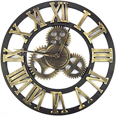 XuBa Vintage Wooden Wall Clock Retro Gear Wall Clock Wandklok Wall Clocks Watches Design Relojes Decoration